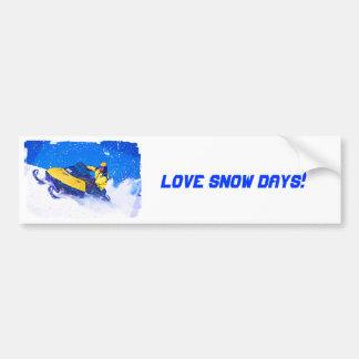 Yellow Snowmobile in Blizzard Bumper Sticker
