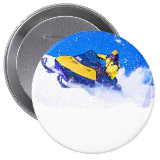 Yellow Snowmobile in Blizzard Button