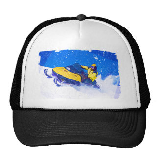 Yellow Snowmobile in Blizzard Hats