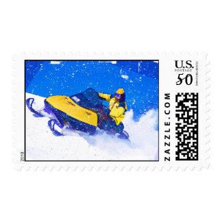 Yellow Snowmobile in Blizzard Postage
