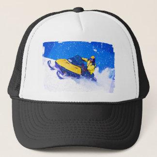 Yellow Snowmobile in Blizzard Trucker Hat
