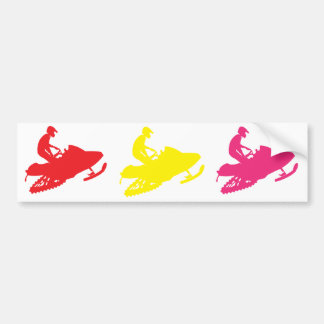 Yellow-Snowmobiler Bumper Sticker