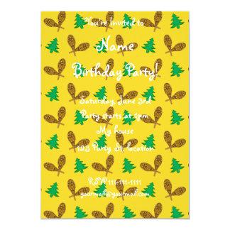 yellow snowshoe pattern 5x7 paper invitation card
