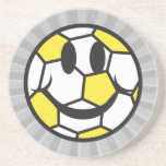 yellow soccer ball smiley face coasters
