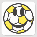 yellow soccer ball smiley face stickers