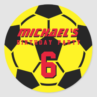 Yellow Soccer Ball Sports Birthday Party Stickers