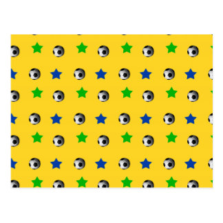 yellow soccer balls and stars post cards