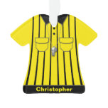 Yellow Soccer Referee Uniform Personalized Ornament