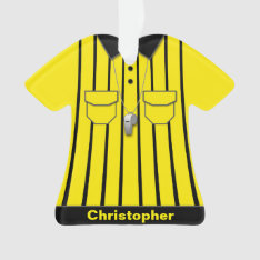 Yellow Soccer Referee Uniform Personalized Ornament at Zazzle