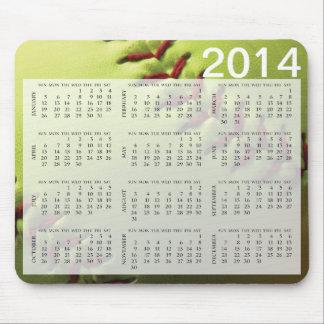 Yellow Softball 2014 Calendar Mouse Pad