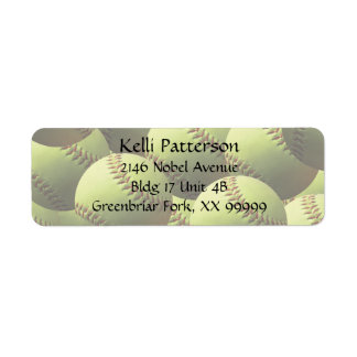 Yellow Softball 4 line Label