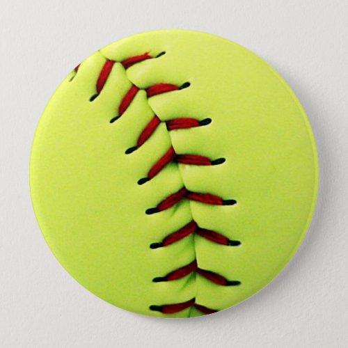 Yellow softball ball button