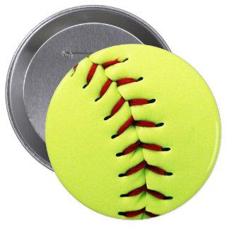 Yellow softball ball 4 inch round button