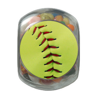 Yellow softball ball jelly belly candy jar
