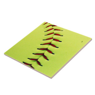 Yellow softball ball ceramic tile