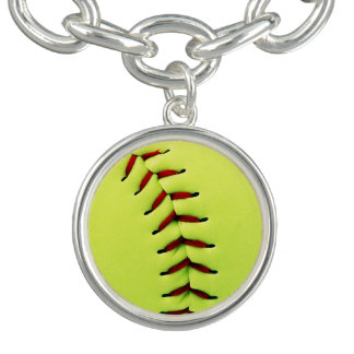 Yellow softball ball charm bracelet