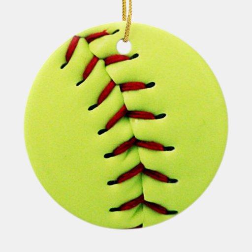 Yellow softball ball christmas ornaments