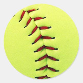 Yellow softball ball classic round sticker