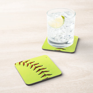 Yellow softball ball coaster