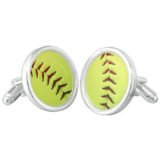 Yellow softball ball cufflinks