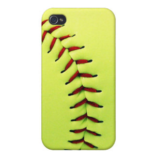 Yellow softball ball cases for iPhone 4