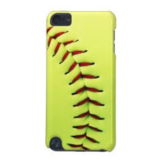 Yellow Softball Ball Ipod Touch (5th Generation) Cover at Zazzle