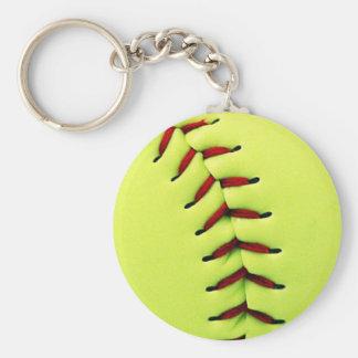 Yellow softball ball basic round button keychain
