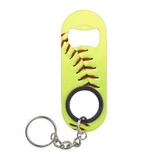 Yellow softball ball keychain bottle opener