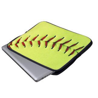 Yellow softball ball laptop computer sleeve
