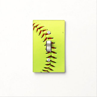 Yellow softball ball switch plate covers