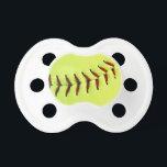 """Yellow softball ball pacifier<br><div class=""""desc""""></div>"""