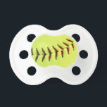 "Yellow softball ball pacifier<br><div class=""desc""></div>"