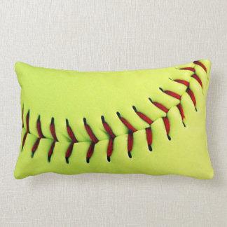 Yellow softball ball throw pillow