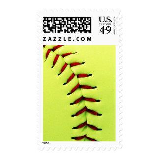 Yellow softball ball postage stamps