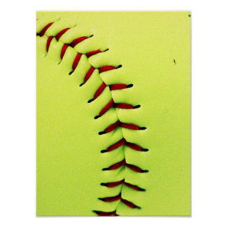 Yellow softball ball poster