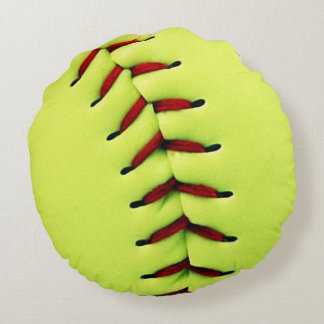Yellow softball ball round pillow