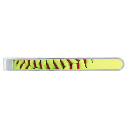 Yellow softball ball silver finish tie clip