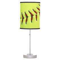 Yellow softball ball table lamp