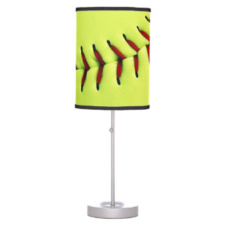 Yellow softball ball table lamp