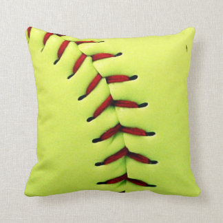 Yellow softball ball throw pillow