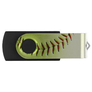 Yellow softball ball USB flash drive