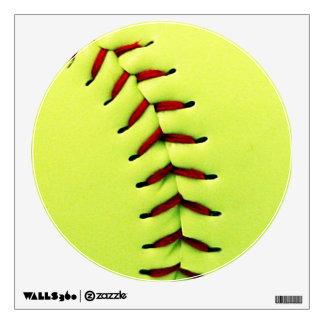 Yellow softball ball wall stickers