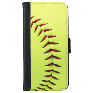 Yellow softball ball wallet phone case for iPhone 6/6s