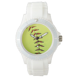Yellow softball ball wristwatch