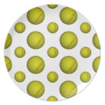 Yellow Softball / Baseball Pattern Dinner Plate