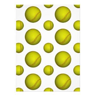Yellow Softball / Baseball Pattern Custom Invite