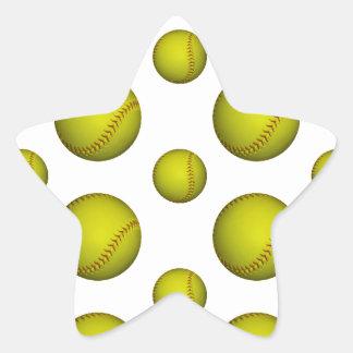 Yellow Softball / Baseball Pattern Star Sticker