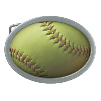Yellow Softball Oval Belt Buckle