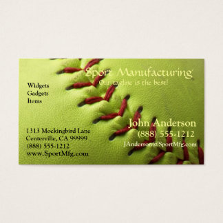 Yellow Softball Blank Back Business Card