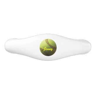 Yellow Softball Ceramic Drawer Pull